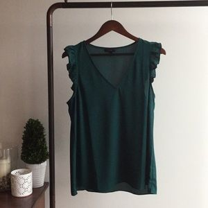 J. Crew Green V-Neck Blouse with Ruffled Shoulder
